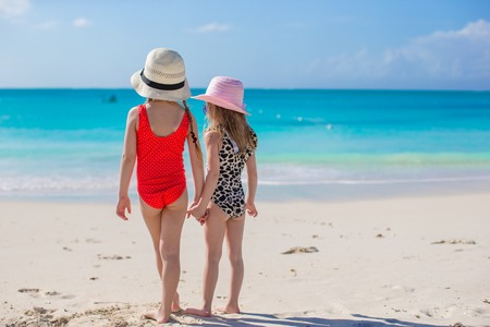 Back view of two sisters looking at the sea on the white beach Stock Photo - 27824595