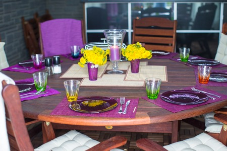 Beautiful home served table on the veranda photo