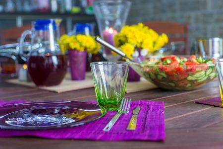 Beautiful home served table on the veranda photo