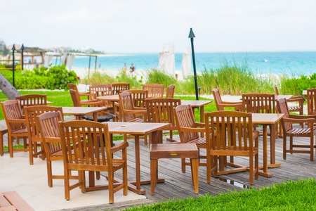 Outdoor empty cute cafe on the beach photo