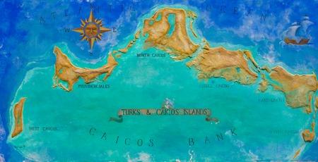 turks: Gran Mapa de las islas Turks y Caicos del Caribe pintados en la pared Foto de archivo