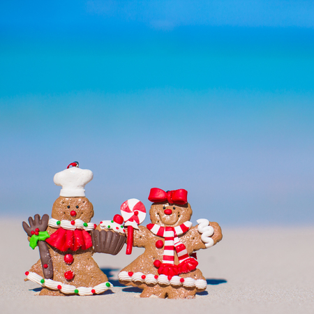 Christmas gingerbread cookies on a white sandy beach photo