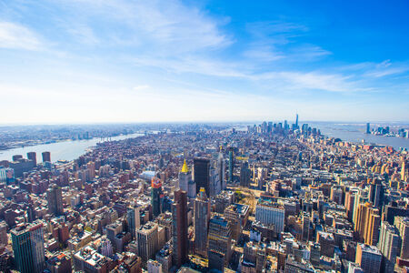 New York City Manhattan midtown aerial panorama view photo