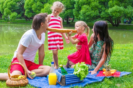 Family of four have picnic in the park on summer day photo