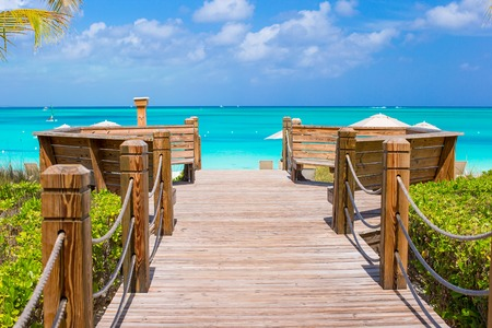 Beautiful tropical landscape on Providenciales Island in the Turks and Caicos, Caribbean photo