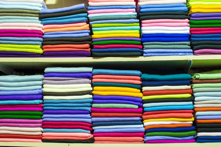 Colorful turkish fabric samples on Grand bazaar photo