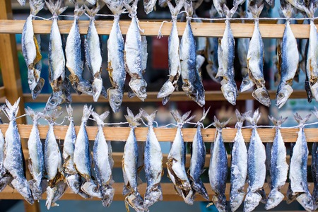 perch dried: Fish market with dried salted