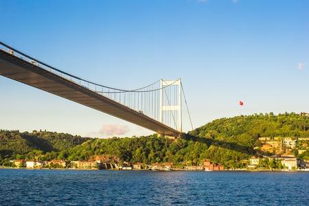 fatih: Fatih Sultan Mehmet Bridge in Istanbul,Turkey Stock Photo