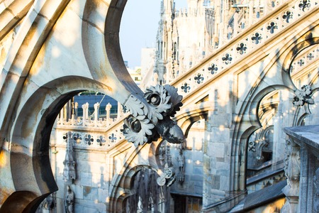 Rooftop of Duomo cathedral, Milan, Italy photo