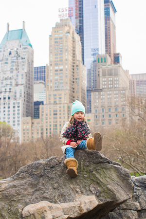 Adorable little girl in Central Park at New York City, America photo