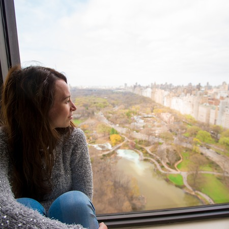 Young girl with view of Central Park photo