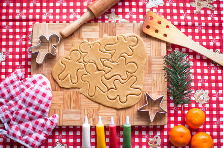 dripping pan: Making gingerbread man and christmas cookies