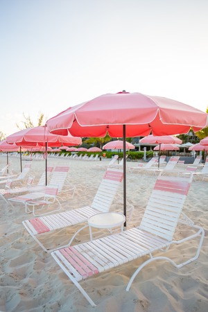 plage: Paradise view of nice tropical empty sandy plage with umbrella and beach chair
