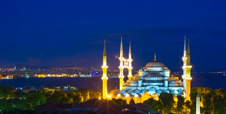camii: Blue Mosque at sunset in Istanbul, Turkey, Sultanahmet district