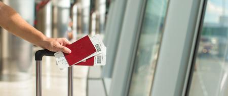 Closeup passports and boarding pass at airport indoor 版權商用圖片 - 35490009