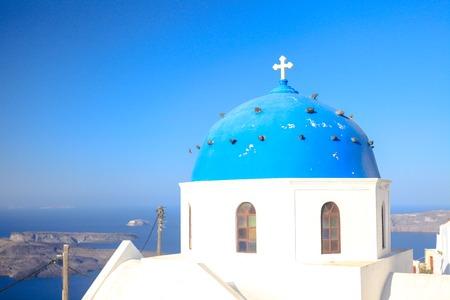 firostefani: Blue famouse dome church at Firostefani on Santorini island