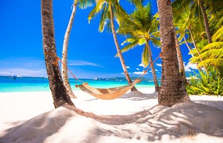 열 대 흰 모래 해변에 짚 해먹