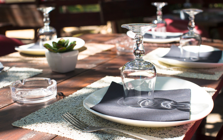 Served table set at outdoor cafe photo