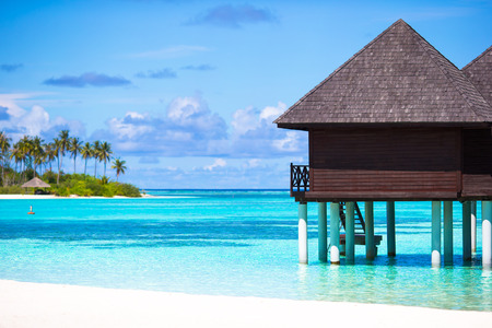 bungalows: Water bungalows with turquiose water on Maldives