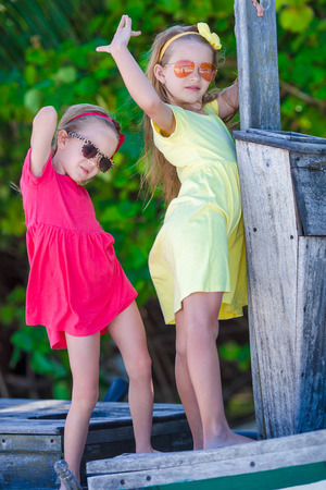 Adorable little girls during summer vacation photo