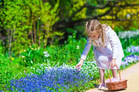 garden cornflowers: Spring garden, spring flowers, dorable little girl and cornflowers
