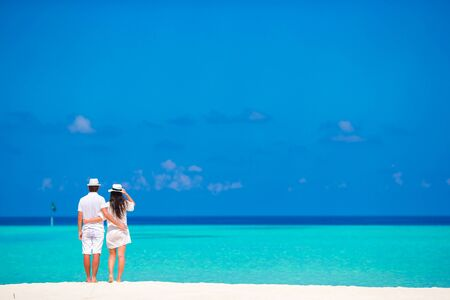 caribbean: Young happy couple have fun on summer tropical vacation Stock Photo