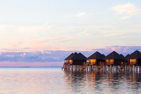 hotel resort: Water villas Bungalows on ideal perfect tropical island, Maldives