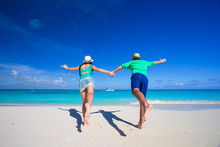 romantic beach: Young romantic couple have fun at Caribbean beach Stock Photo