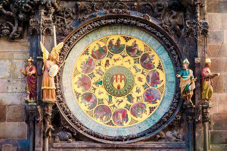 europe closeup: Astronomical Clock-Orloj close-up in Prague, Czech Republic, Europe. Vintage style. Prague clock tower detail. Stock Photo