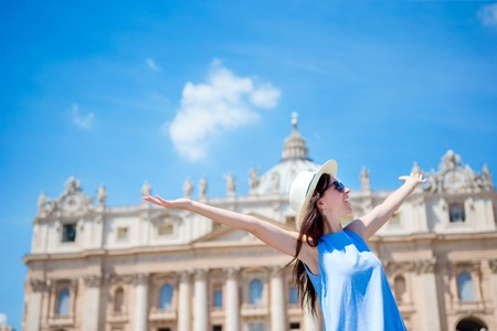 Happy tourist in Rome over St. Peters Basilica church in Vatican city background Stok Fotoğraf