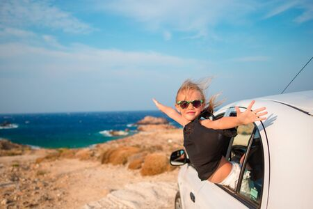 2 way: Family on vacation. Summer holiday and car travel concept