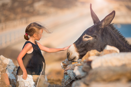 Little girl stroking donkey in the green field Stock Photo