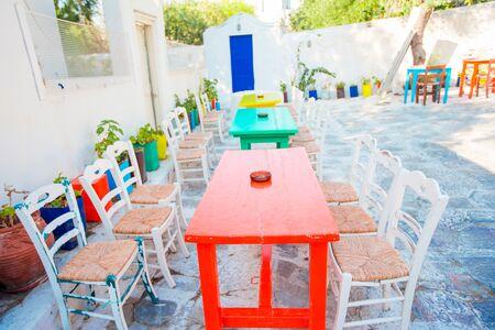 Summer empty openair cafe in popular area in Mykonos Little Venice