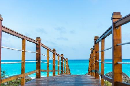 Wooded bridge and turquoise sea in Cayo Largo, Cuba