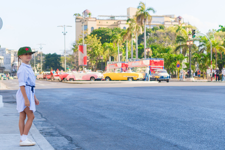 capitolio: Adorable little girl in popular area in Old Havana, Cuba.
