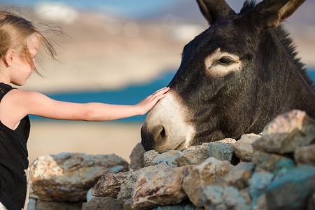 Little adorable girl with donkey on Mykonos Stock Photo