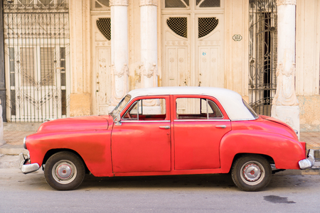 HAVANA, CUBA - APRIL 14, 2017: Closeup of classic vintage car in Old Havana, Cuba. The most popular transportation for tourists are used as taxis.