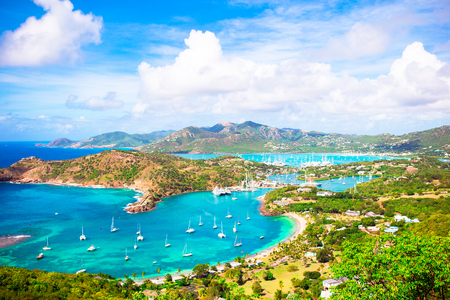 View of English Harbor from Shirley Heights, Antigua, paradise bay at tropical island in the Caribbean Sea Stock Photo