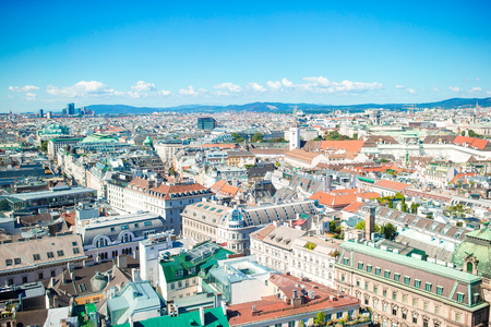 View from St. Stephens Cathedral over Stephansplatz square in Vienna, capital of Austria on sunny day