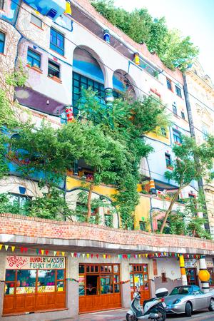 Hundertwasser house with a garden upstairs in Vienna, Austria Editorial