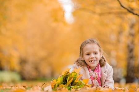 Portrait of adorable little girl with yellow leaves bouquet in fall Stock Photo