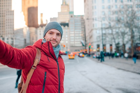 Young man have fun in Central Park at New York City Stock Photo
