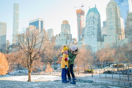 Happy mother and little girl on Manhattan, New York City, New York, USA. Stock Photo