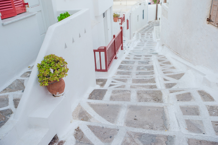 Traditional greek village. Streets and white houses Stock Photo