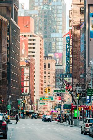 Beautiful street of New York City and America, January 01th, 2018 in Manhattan, New York City.