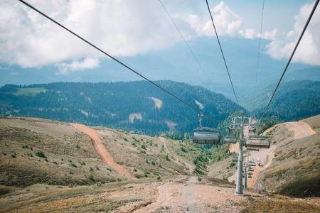 Ropeway on top Roza Peak. Sochi, Krasnodar Krai, Russia Stock Photo