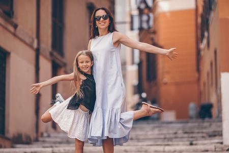 Happy mom and little adorable girl traveling in Rome, Italy 写真素材