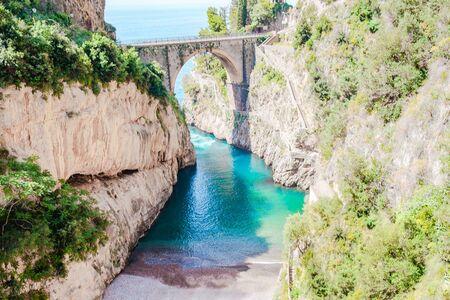 Famous fiordo di furore beach seen from bridge. Banco de Imagens