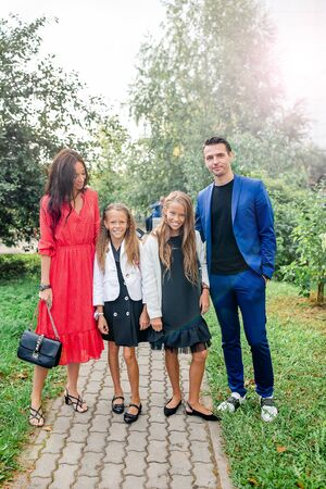 Family with two kids back to school