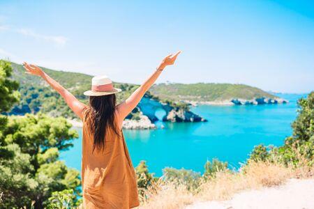 Girl on vacation travel background beautiful landscape 스톡 콘텐츠
